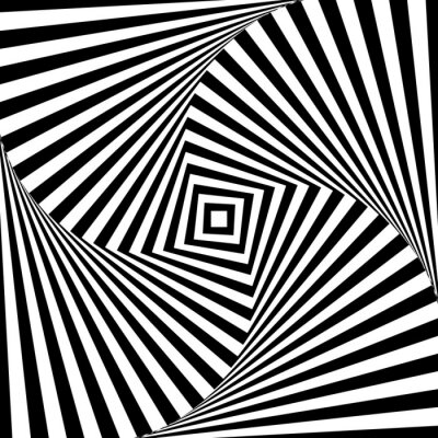 Sticker Abstract vector optic illusion in black and white