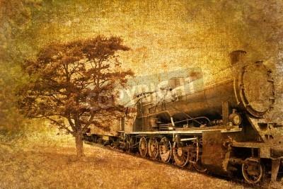 Sticker abstract vintage of steam train