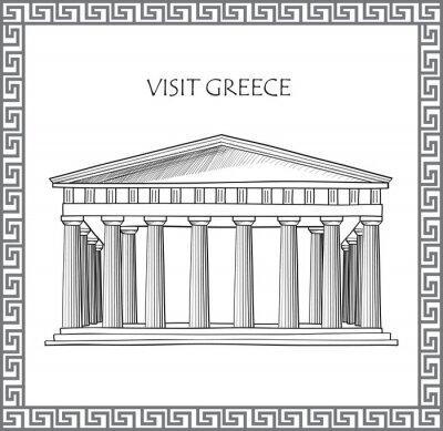 Sticker Acropolis in Athens, Greece. Visit Greece card. Ornamental traditional greek vector frame.