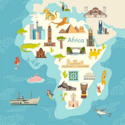 Sticker Africa continent, world map with landmarks vector cartoon illustration. Abstract African landmarks, animals, sign and icon cartoon style.  Poster, art, travel card