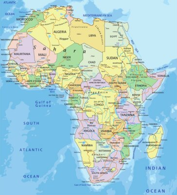 Sticker Africa - Highly detailed editable political map.