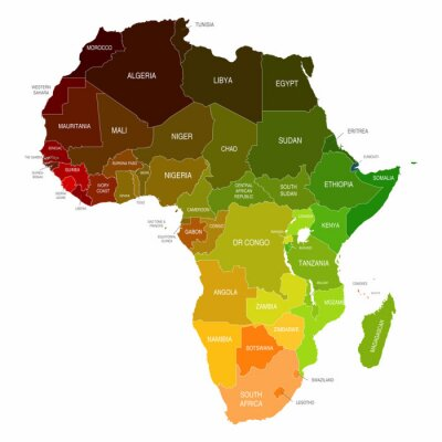 Sticker Africa Map Colored Countries Shapes