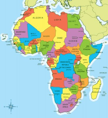 Sticker Africa map with countries and cities