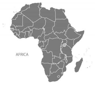 Sticker Africa Map with countries grey
