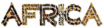 Sticker Africa patchwork with fabric and skin textures