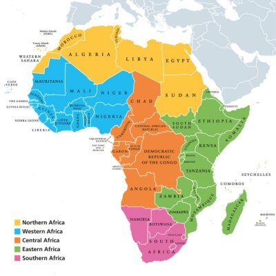 Sticker Africa regions political map with single countries. United Nations geoscheme. Northern, Western, Central, Eastern and Southern Africa in different colors. English labeling. Illustration. Vector.