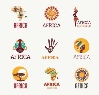 Sticker Africa, Safari icons and element set