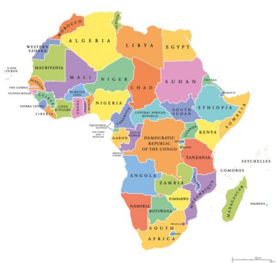 Sticker Africa single states political map. Each country with its own color area. With national borders on white background. Continent including Madagascar and island nations. English labeling.
