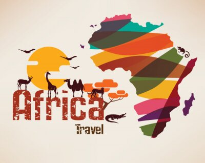 Sticker Africa travel map, decrative symbol of Africa continent with eth