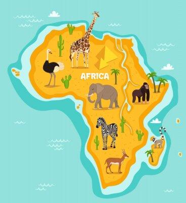 Sticker African animals wildlife vector illustration. African fauna, ostrich, giraffe, elephant, monkey, zebra, lemur, antelope in cartoon style. African continent in blue ocean with wild animals and plants
