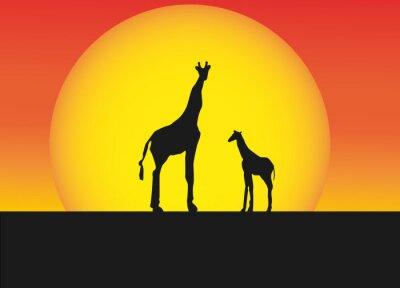 Sticker African giraffes in silhouette landscape