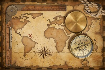 Sticker aged treasure map, ruler, rope and old brass compass with lid