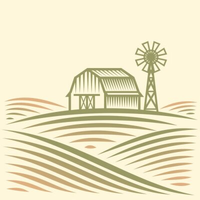 Sticker Agriculture Landscape with Barn and Wind Turbine. American Farm