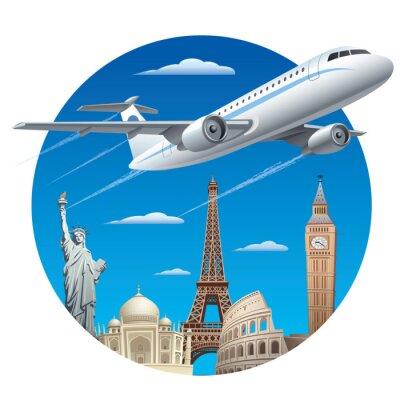 Sticker air travel concept