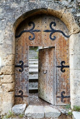 Sticker Ajar old wooden door
