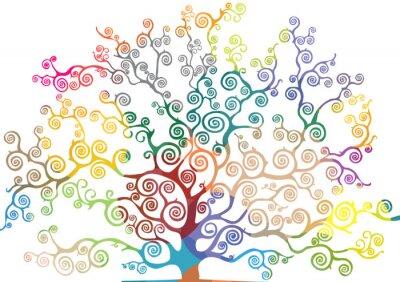 Sticker albero con rami curvi e colorati