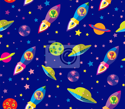 Sticker alien flying in a rocket in space seamless vector pattern