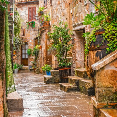 Sticker Alley in old town Pitigliano Tuscany Italy