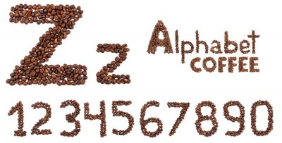 Sticker alphabet from coffee beans isolated