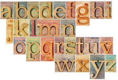 Sticker alphabet in letterpress  wood type