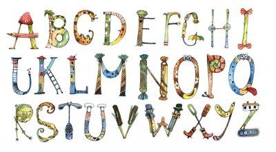 Sticker alphabet, letter, watercolor