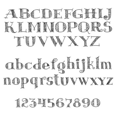 Sticker Alphabet letters font with cross-hatching