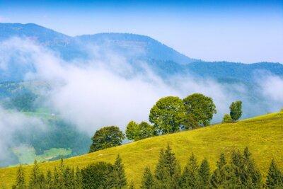 Sticker Alpine mountain misty valley