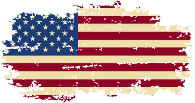 Sticker American grunge flag. Vector illustration.