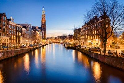 Sticker Amsterdam at night, Netherlands