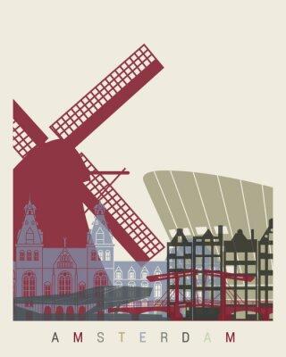 Sticker Amsterdam skyline poster