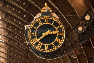 Sticker An Antique Black and Gold Railway Station Clock