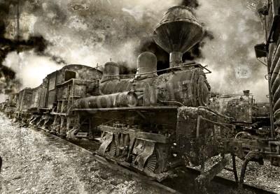Sticker An old rusting vintage steam locomotive