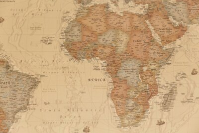 Sticker Ancient geographic map of Africa with names of the countries