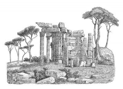 Sticker Ancient greek column illustration
