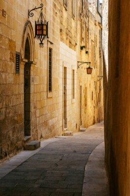 Sticker Ancient narrow maltese street in Mdina