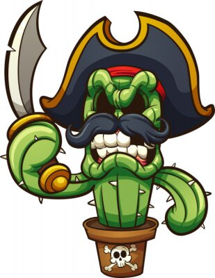 Sticker Angry cactus pirate.  Vector clip art illustration with simple gradients. All in a single layer.