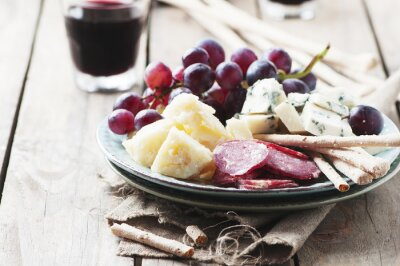 Sticker Antipasto with cheese, sausage and grape