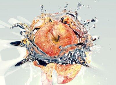 Sticker apple faling and splashing into water