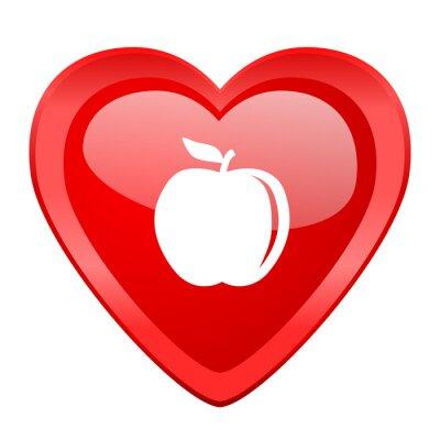Sticker apple red heart valentine glossy web icon