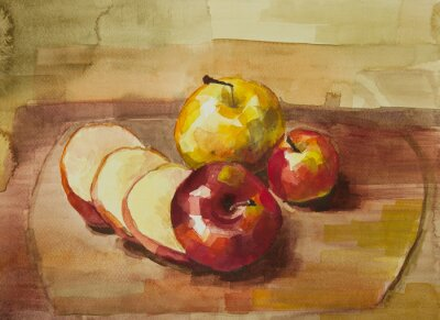 Sticker Apples on cutting board still life watercolor painting