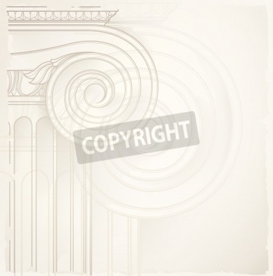 Sticker architectural background , ionic column , vector drawing