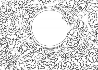 Sticker Around the Moon (vector illustration)