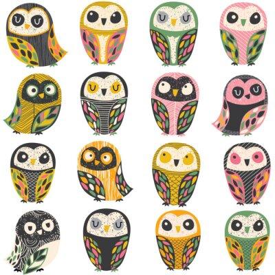 Sticker artistic owl illustration