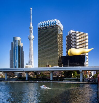 Sticker Asakusa Skyline in Tokyo mit Skytree und Asahi Gebäude