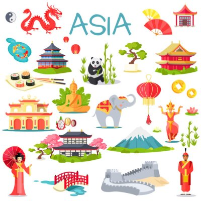 Sticker Asia Collection of Symbolic Elements on White
