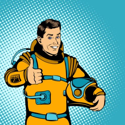 Sticker Astronaut concept, comics style