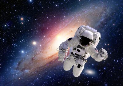Sticker Astronaut spaceman suit outer space solar system people universe. Elements of this image furnished by NASA.