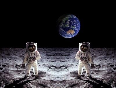 Sticker Astronauts Moon Landing Earth