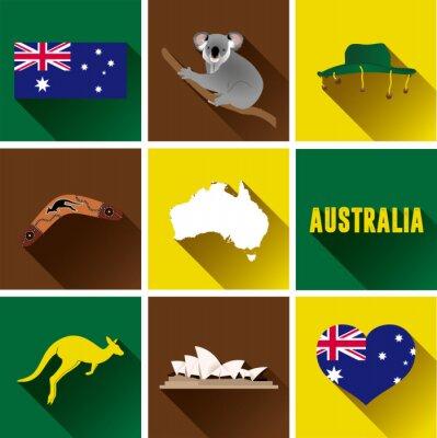 Sticker Australia Flat Icon Set.  Set of vector graphic flat icons representing landmarks and symbols of Australia.
