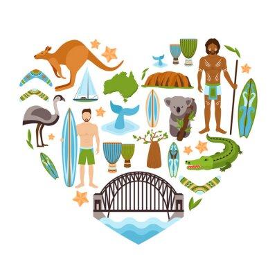 Sticker Australia Heart Shape